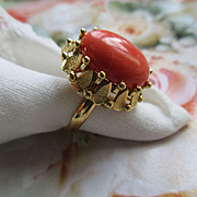 Vintage 14K Coral Ring