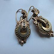 Victorian Antique Pierced Earrings in Gold Fill