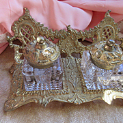 Antique Ornate Double Ink Well