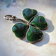 Vintage Sterling EnameledFour Leaf Clove Guilloche Green Enamel  Irish Celtic Shamrock Flower Jewelry
