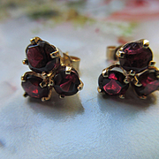 Vintage 14K Garnet Pierced Earrings Fine Estate Jewelry