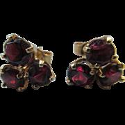 Vintage 14K Garnet Pierced Earrings Fine Estate Jewelry