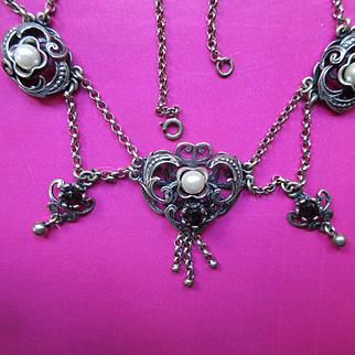 Austrian 835 Silver Garnet Cultured Pearl Festoon Necklace Renaissance Revival  Arts and Crafts Art Nouveau