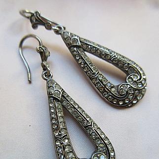 Antique Silver Paste Pierced Earrings