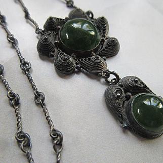 Deco 1930s Vintage Jade Filigree Necklace