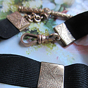 Victorian Mourning Ribbon Arm Band  Etched Bird Motif