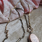 Victorian Locket Watch Chain Necklace in Gold Fill  1800s Necklace