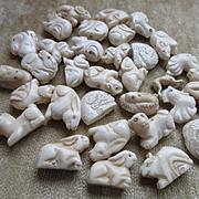 Vintage Carved Bone Figural Animal Beads