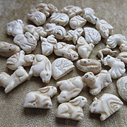 Vintage Carved Bone Figural Animal Beads