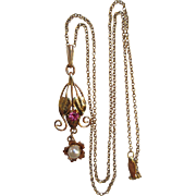 Vintage Deco 1930s 10K Cultured Pearl and Simulated Ruby Lavaliere Necklace