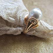 Vintage 18K Cultured Pearl Ring