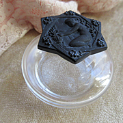 Vintage Perfume Bottle Pressed Glass Cameo Stopper