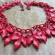 Vintage Deco 20s 30s Red Celluloid Leaf Necklace
