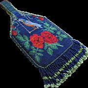 Vintage Beaded Purse Bag Floral and Blue Bird Motif