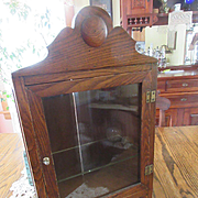 Antique Medicine Cabinet Curio Oak Wall Cabinet