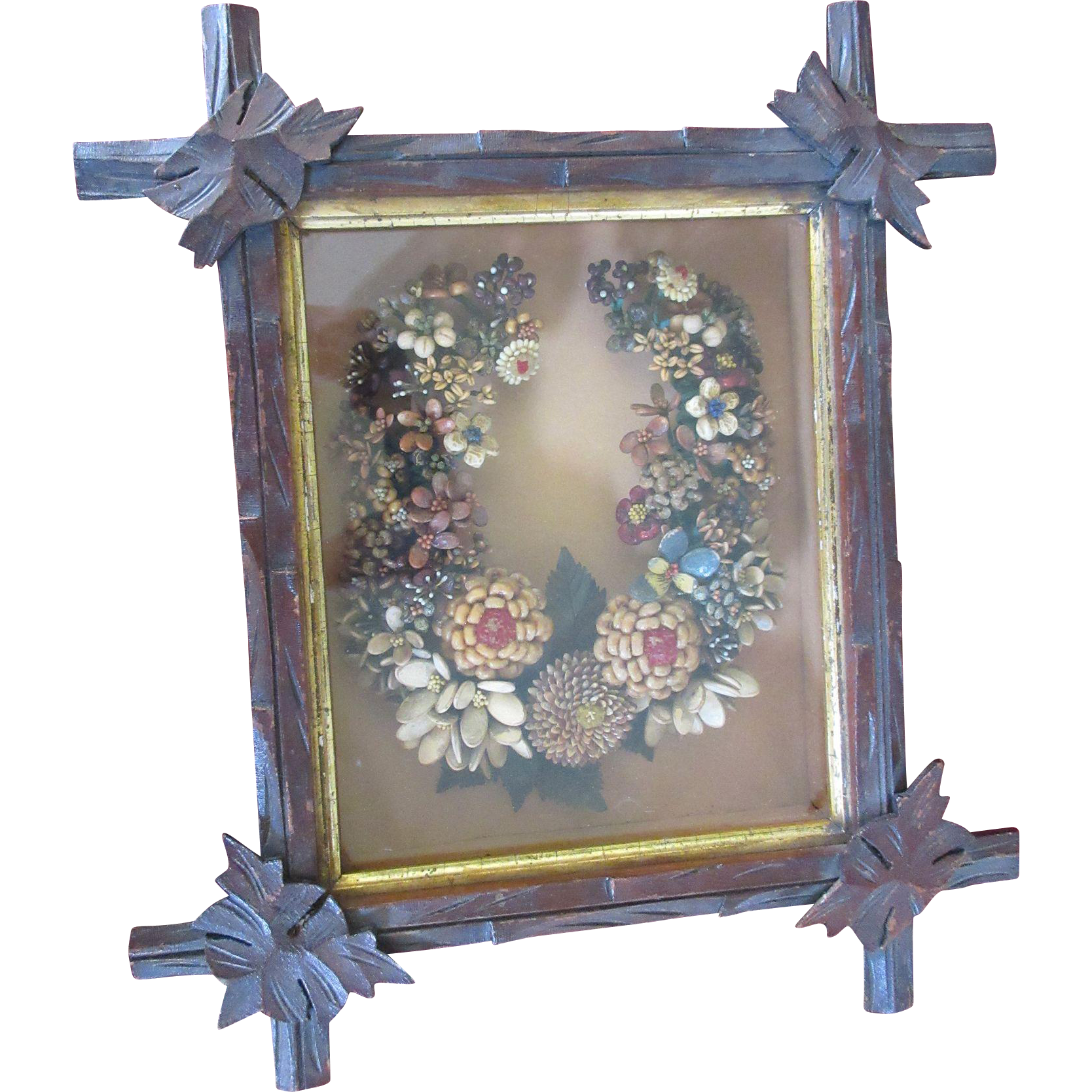 victorian diorama framed horse shoe seed wreath shadow box folk art   pauline street