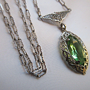 Vintage Deco 30s Lavaliere Necklace Peridot Colored Crystal