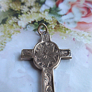 Antique Enameled Cross in Gold Fill