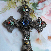 Vintage circa 1930 Enameled Jeweled Cross Pendant