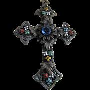 Vintage circa 1930 Enameled Jeweled Cross Pendant