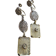 Vintage Deco 20s Camphor Glass Sterling Screw Back Earrings