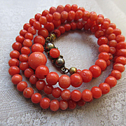 Antique Natural Coral Beaded Necklace 835 European Silver Clasp 18.75''