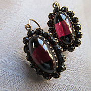 Victorian Garnet Cabochon Pierced Earrings