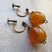 Vintage Amber Drop Screw Back Earrings