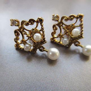 Vintage 18k Diamond Cultured Pearl Pierced Earrings