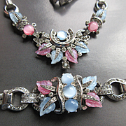 Vintage 40s 50s Mazer Pastel Fruit Salad Rhinestone Rhodium-plated Snake Chain Necklace and Bracelet