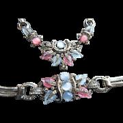 Vintage 40s 50s Mazer Pastel Fruit Salad Rhinestone Rhodium-plated Snake Chain Necklace and Bracelet