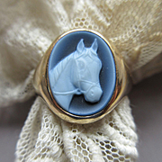 Vintage 14K Agate Cameo Horse Ring  Mans Ring Size 11.5