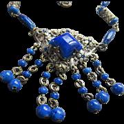 Vintage Circa 1920 Blue Art Glass Necklace