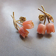Vintage 14K Angel Skin Coral Pierced Earrings Fine Estate Jewelry