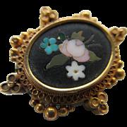 Antique Miniature 10K Pietra Dura  Pin