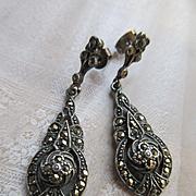 Vintage Sterling Marcasite Pierced Earrings Drop Dangle Earrings