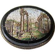 Antique Micro Mosaic Roman Scenic Brooch