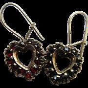Vintage Bohemian Garnet Heart Earrings
