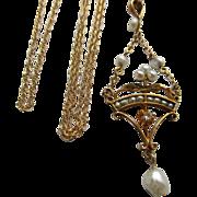 Antique 14K Diamond Cultured Pearl Gardinetti Lavaliere on Gold Fill Chain