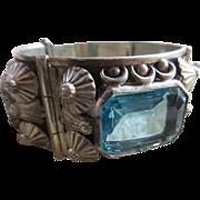 Vintage Mexican Alpaca Aqua Crystal Bracelet