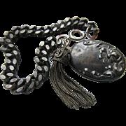Antique Sterling Charm Bracelet Slide Locket Tassel Charms