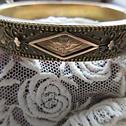 Antique Victorian Etruscan Revival Bangle Bracelet in Gold Fill  Etched Bird