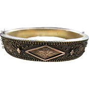 Antique Victorian Etruscan Revival Bangle Bracelet in Gold Fill  Etched Bird