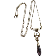 Antique Art Nouveau circa 1910 10K Amethyst and Seed Pearl Lavaliere Drop