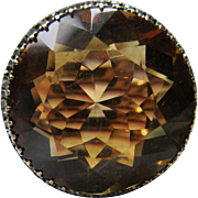 Antique Circa 1900 Citrine 10k and Silver Rose Cut Diamond Ring