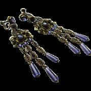 Antique Circa 1910 Screw Back Dangle Drop Earrings