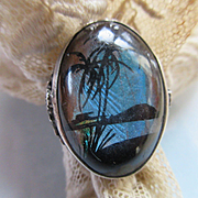Vintage Deco Morpho Butterfly Wing Sterling Ring 30s 40s Fine Estate Jewelry