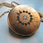 Antique Paste and Opal Star Burst Locket in Gold Fill