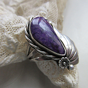 Vintage Native American Purple Shell Ring Hallmarked Sterling