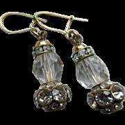 Vintage Altered Crystal Rhinestone Roundel Drop Pierced Earrings
